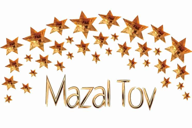 Mazel Tov wedding card with Mazel Tov lettering and stars above