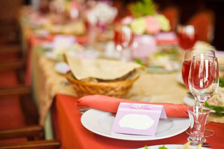 Table laid with food at wedding