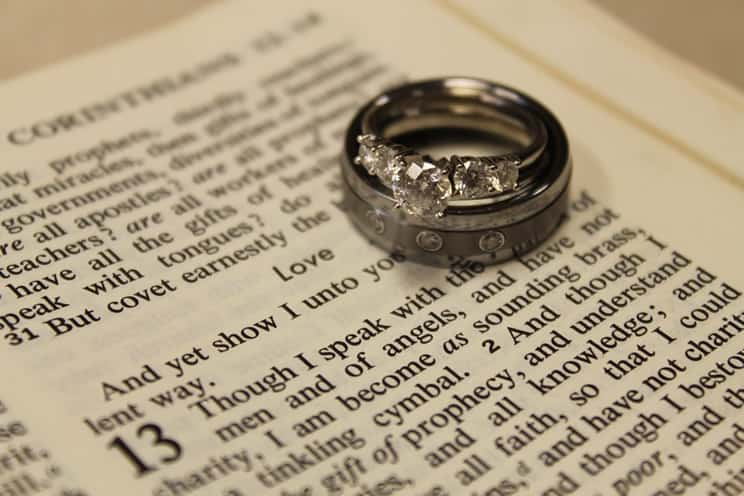 Wedding ring placed on bible page